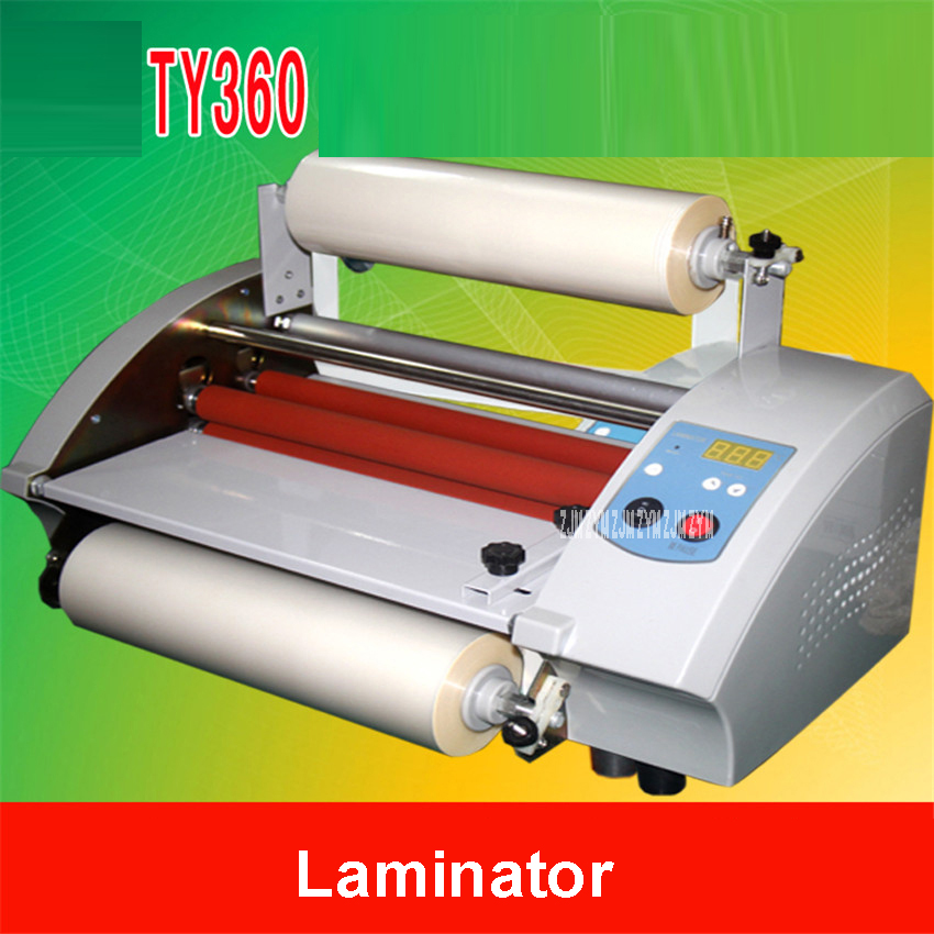 1pc CNC stepless speed modulation TY360 Hot&Cold Laminator hot mounted stickers cold mounted photo lamination film machine 600W