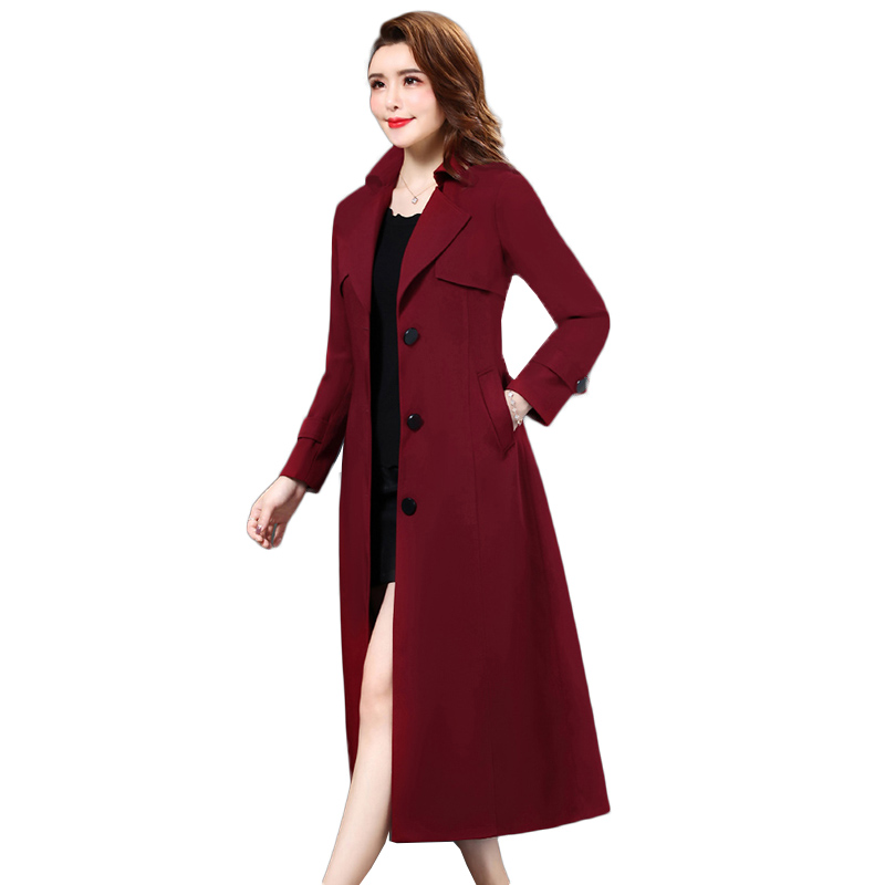 New Long   Trench   Coat For Women Clothes Spring Single Breasted Elegant Plaid   Trench   Coat Abrigo Mujer Windbreaker Outwear NW1073