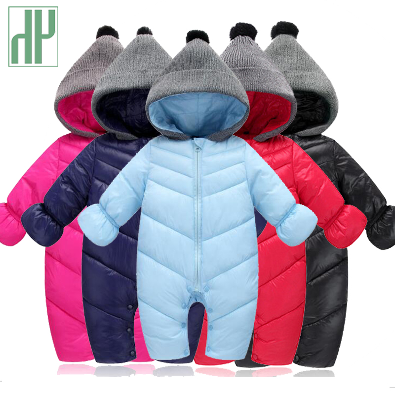 HH Baby Winter Clothes Girl Romper Warm jumpsuit baby overalls Long Sleeve Hooded Outerwear Snowsuit baby boy winter overalls стоимость