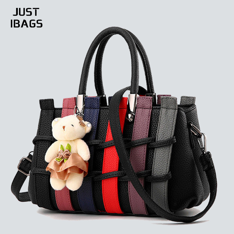 High quality PU leather Women handbag Fashion Shoulder Bags Knitting Tote Patchwork panelled Lady Bear Wide shoulder strap