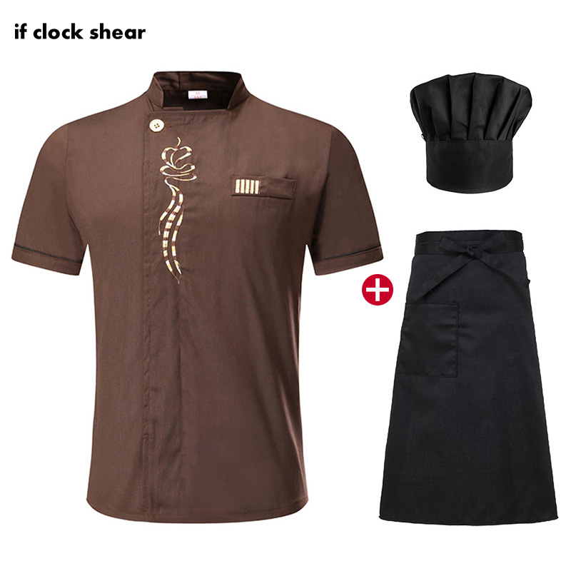 Food Service Unisex Work Clothes Hotel Kitchen Chef Clothes Short Sleeved Chef Restaurant Uniform Cooking Shirt Jacket+Hat+Apron