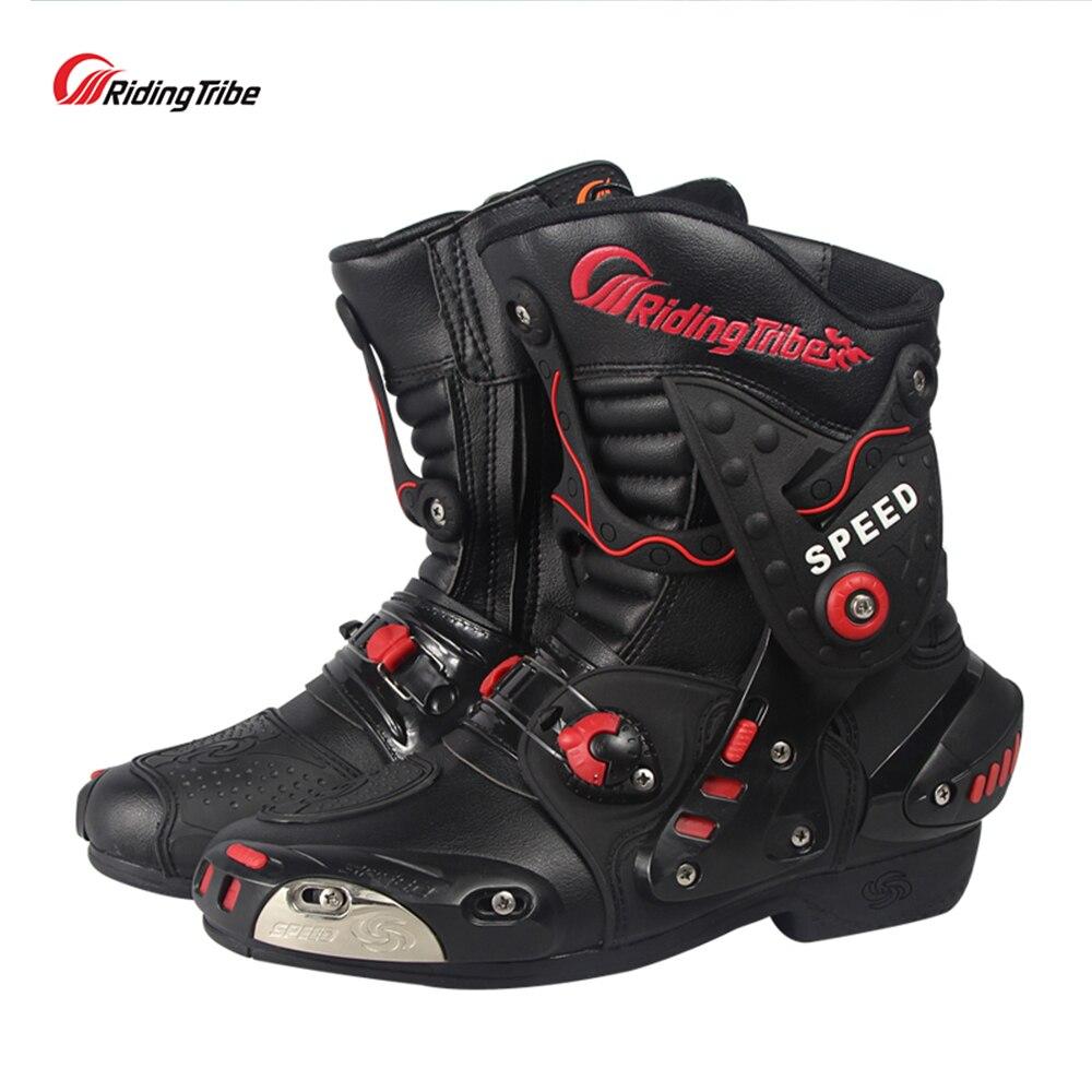 Bottes de moto en cuir microfibre de tribu d'équitation anti-dérapant Anticollision chaussures de course de moto portable bottes de Motocross A010