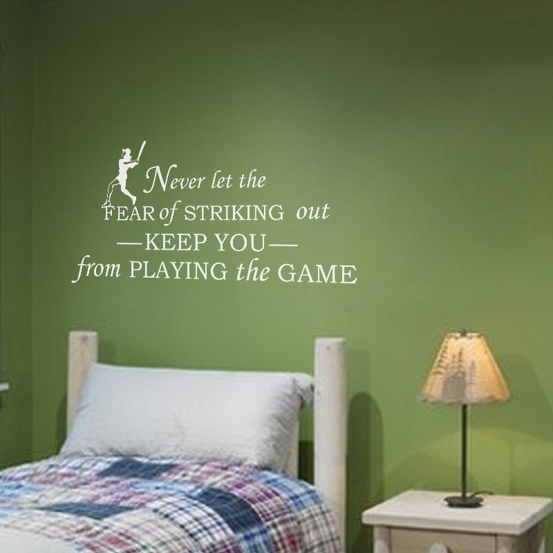 """Never let fear of striking out <font><b>keep</b></font> you from <font><b>playing</b></font> the game-Inspirational Vinyl Wall Decal Baseball kids Room Decor 55""""x27"""" L"""