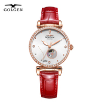 GOLGEN Women Mechanical Watch Constellation Series Waterproof Female Skeleton Automatic Wristwatch Relogio Feminino