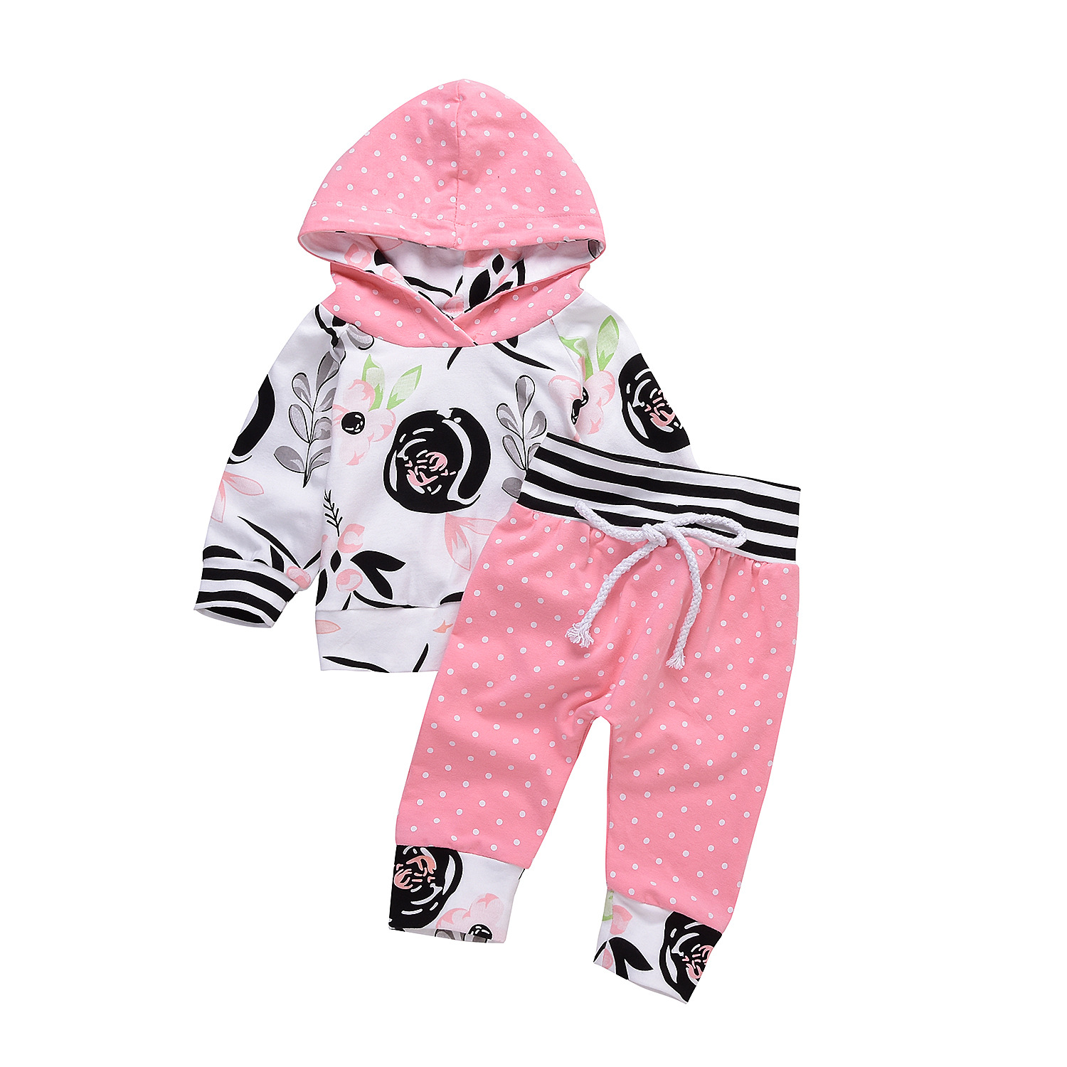 Newborn Clothing Autumn Fashion printing baby girls 3Pcs/Set Long-sleeved hooded newborn girls Clothes For Children Outwears