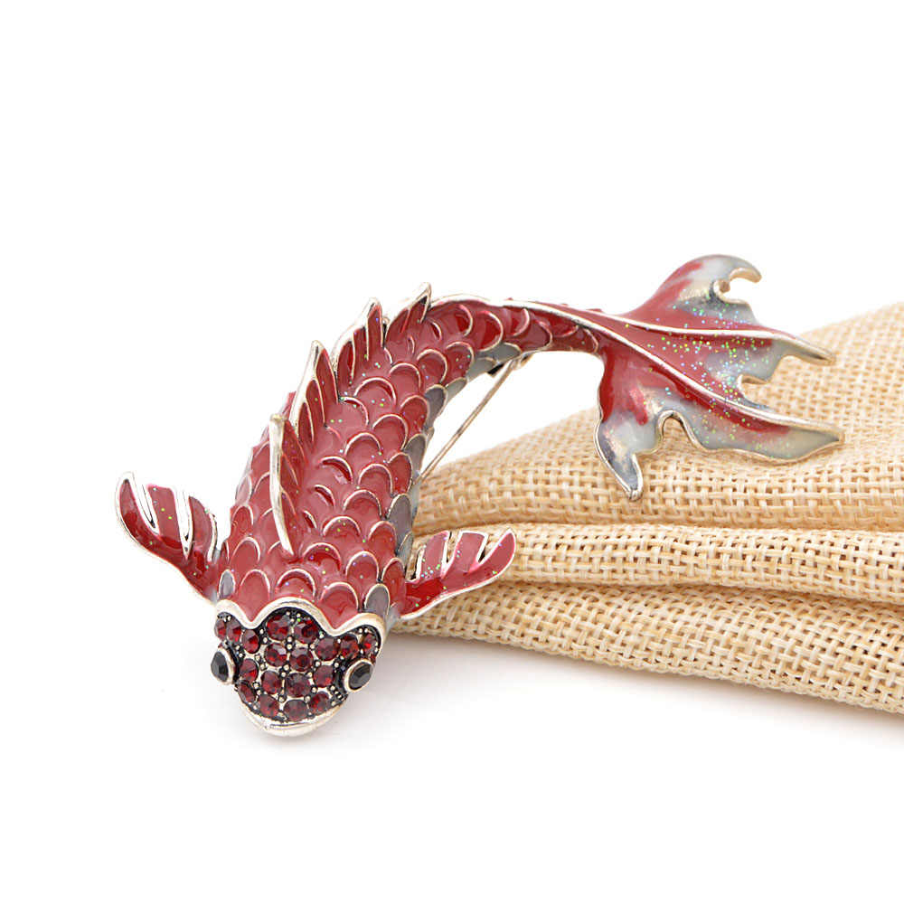 Cindy Xiang 3 Warna Tersedia Merah Enamel Ikan Bros untuk Wanita Ikan Mas Besar Pin Hewan Gaya Perhiasan Fesyen Bros Mantel broch