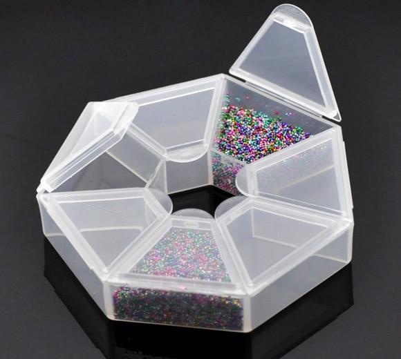 2PCs Small Plastic Storage Box W/7 Compartments Beads Jewelry Storage Box Makeup Organizer Home Saundries Containers 9x9x2cm-in Storage Boxes u0026 Bins from ... & 2PCs Small Plastic Storage Box W/7 Compartments Beads Jewelry ...