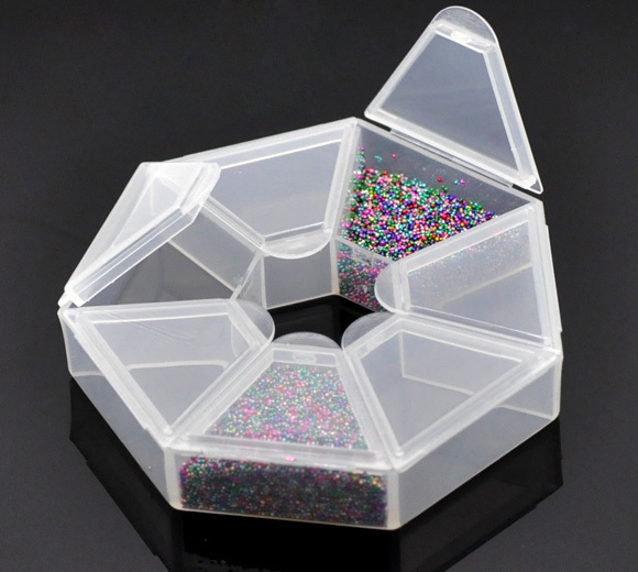 Jewellery Packaging And Bead Storage With: 2PCs Small Plastic Storage Box W/7 Compartments Beads