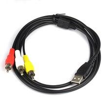 USB kablosu USB2.0 erkek 3 RCA erkek dönüştürücü Stereo ses Video kablosu televizyon adaptör kablosu AV A/V TV adaptörü