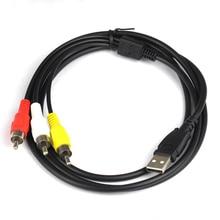 USB to RCA 케이블 USB2.0 Male to 3 RCA Male Coverter 스테레오 오디오 비디오 케이블 텔레비전 어댑터 와이어 AV A/V TV 어댑터