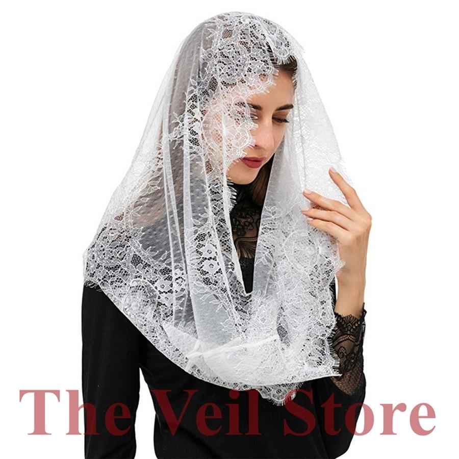 Spanish Lace Mantilla Chapel Veil For Church Round Scarf HeadCover Wrap Latin Mass Headkerchief Mantilla De Novia Negra Mantille