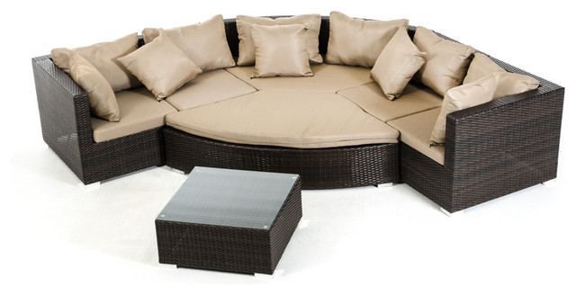 2015 All Weather Outdoor Wicker Sectional 7 Piece Resin Couch Set