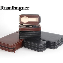Luxury 2 Grids 4 Leather Watch Box Zipper style for convenient travel storage Jewelry Collector Cases Organizer