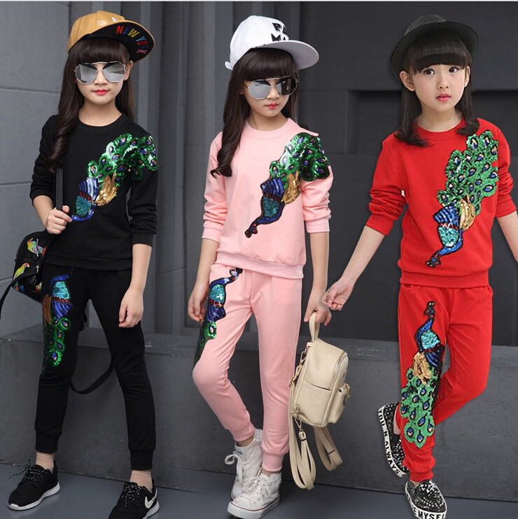 New Autumn Baby Girls Boutique Brand Outfits Kids Sports Suit Coat Children Clothing Sets Toddler Tracksuit 3T 10 12 13 Year