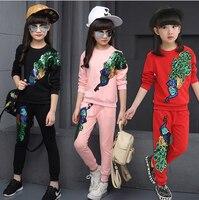 Nuovo Autunno Neonate Boutique di Marca Outfits Kids Sport Suit cappotto Dei Bambini Che Coprono Gli Insiemi Del Bambino Tuta 3 T 10 12 13 anno