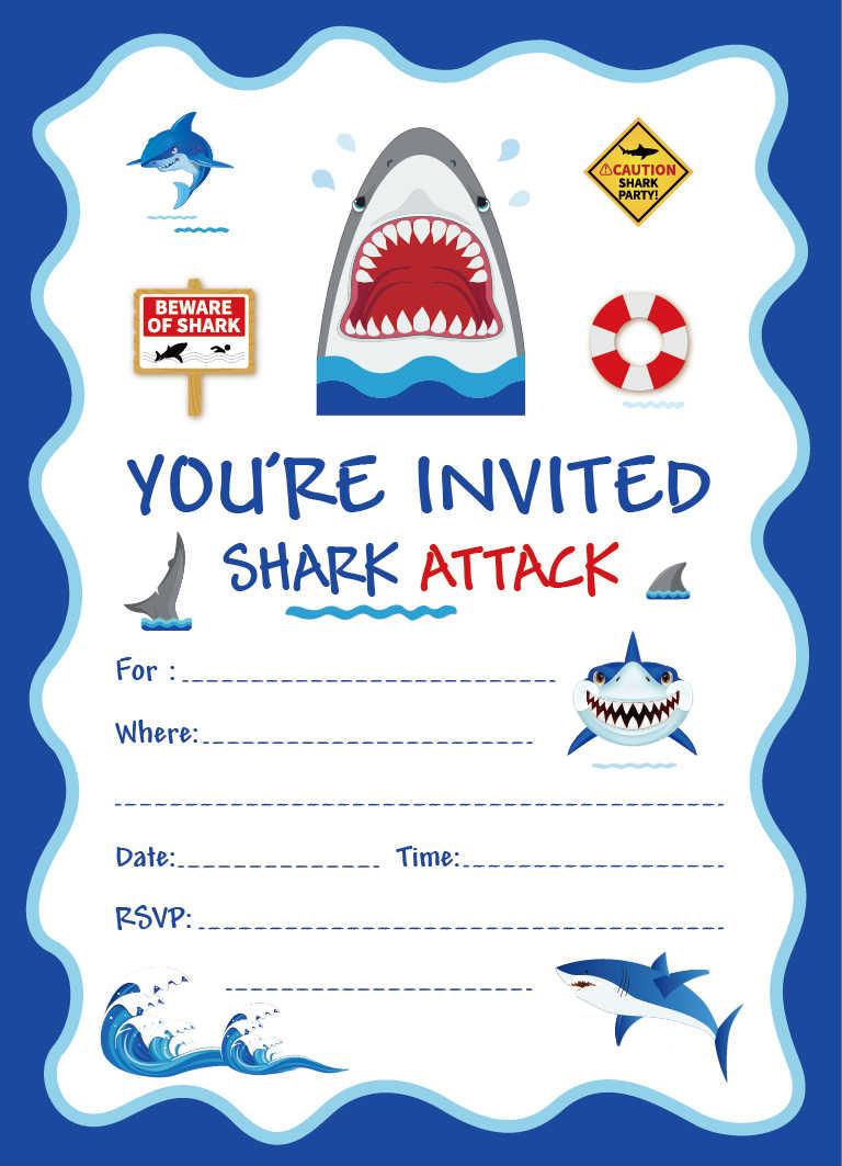 Blue Sea Theme Invitation Cards Cartoon Shark Birthday Party Invitations Kids Happy Birthday Party Favor Baby Shower Decorations
