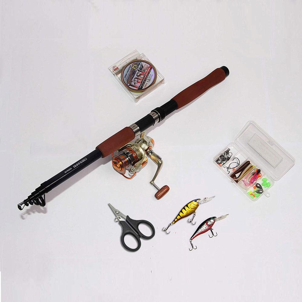 2.1/2.4/2.7 m canne à pêche Combo et moulinet Kit complet ensemble de pôle de pêche filature ligne de moulinet leurres crochets pivote des perles de plombs - 3