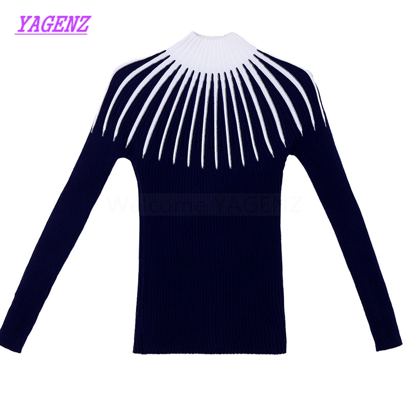 Sweater Women Winter Pullover Abstract-Pattern Korean Autumn Bottoming High-Collar New