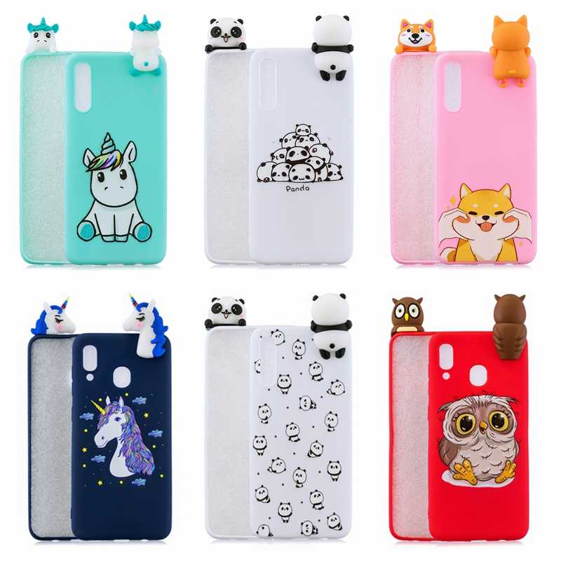 best service 4e9ff dd345 A30 A50 3D Case for Samsung A50 A30 Case Kawaii Panda Unicorn Silicone  Cover on for Coque Samsung Galaxy A30 A50 Telefoon Case
