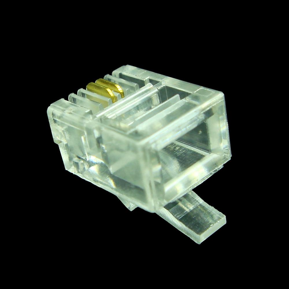 20pcs lot hot 6p2c 2 pins rj11 modular plug telephone cable connector clea 100 new [ 1000 x 1000 Pixel ]