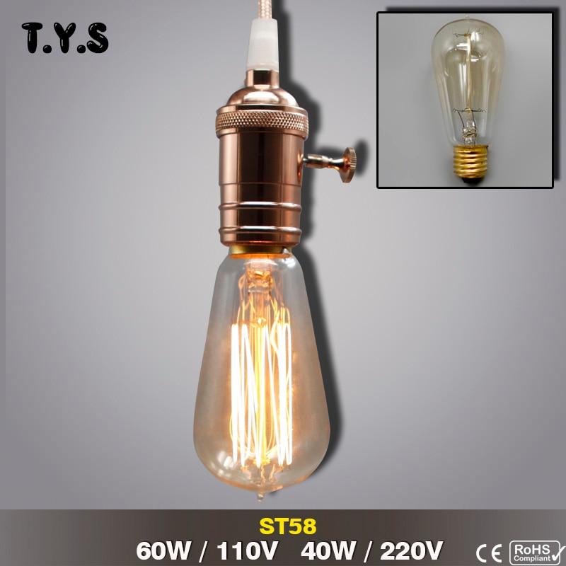 ST58 Vintage Lamp E27 220V 110V Lampadine Incandescent Light Bulb Edison Lamp Bulb Portalampade Con Attacco Retro Lighting Decor