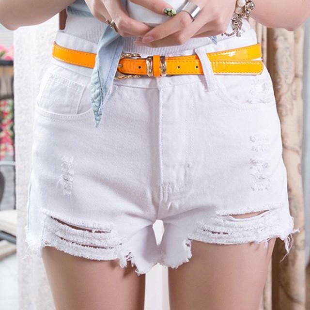 Women High Waist Tassel Hole Short Jeans Denim Slim Shorts Summer New Sale