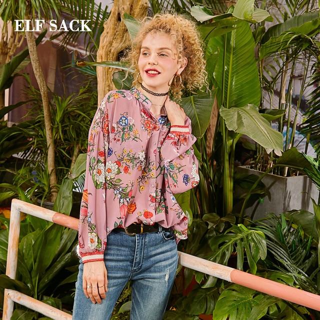 ELF SACK 2019 Elegant Woman Shirts Casual Full Floral Femme Blouse Stand Vintage Chiffon Shirts Streetwear Ladies Shirts