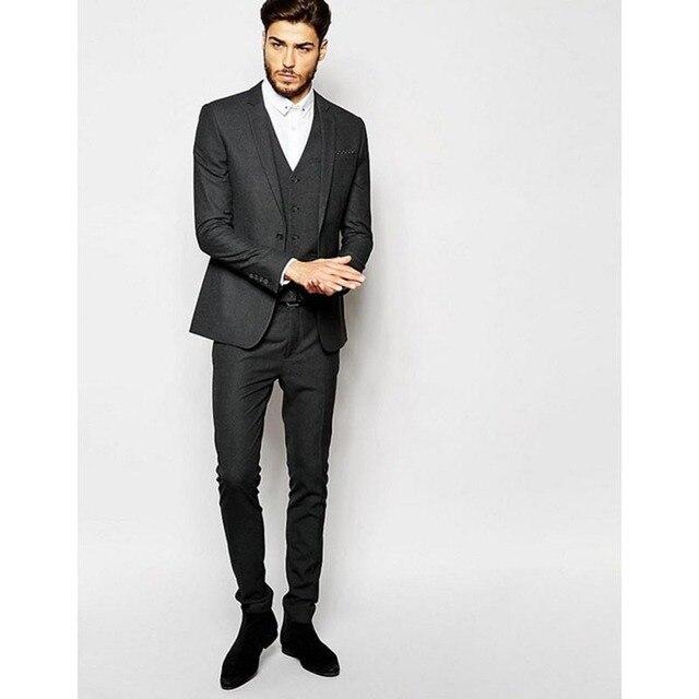 3 Pieces Dark Grey mens Suits 2017 new Men Work Wear Suit terno ...
