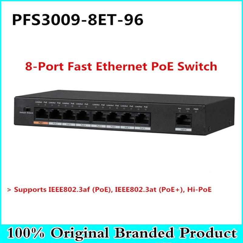 DH Original 8 Port Fast Ethernet PoE Switch Support PoE, PoE+, Hi-PoE 10/100 DC48~57V Power Export version without logo цена