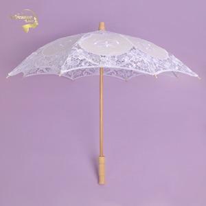 Image 4 - מכירה לוהטת לבן בעבודת יד רקום תחרת השמשייה שמש מטריית כלה חתונת מסיבת יום הולדת קישוט חתונת דקור BU99037