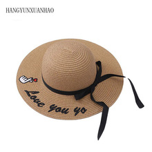 2019 Fashion Summer Hat For Girl Floppy Wide Brim Straw Beach Cap Child Letter Embroidery Woven Sun Panama
