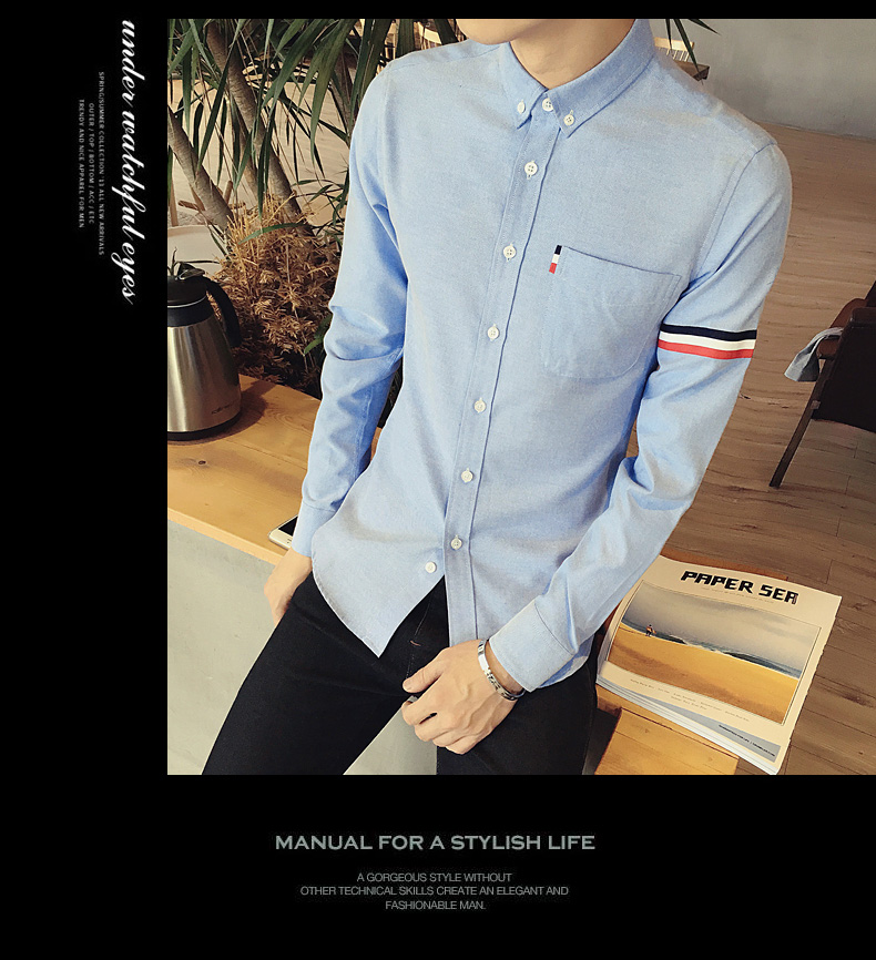2017 New autumn men's casual tops brand shirt striped Strip decorate cotton men fashion solid color long sleeved Shirts M-XXXL 71