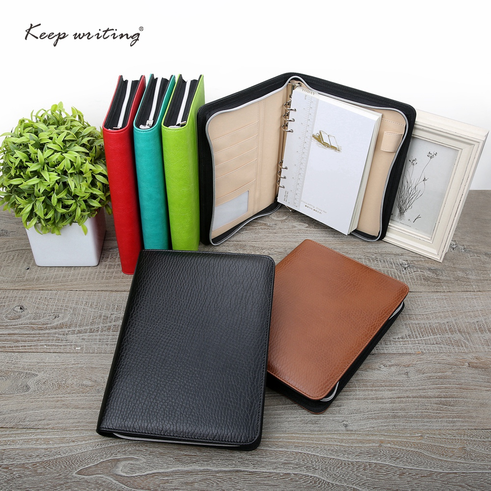 A5 Business Zipper Bag Notebook PU Leather Organizer Planner for white collar with Ruler Page Marker or Memo Pad Logo Customized bag laura ashley bag href page href page 8