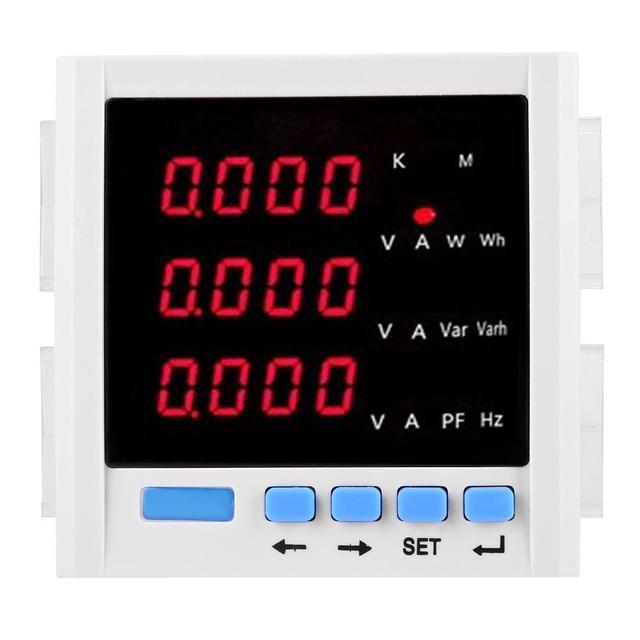 Digital Network Meter Multifunction Three-phase LCD Display Digital Network Power Meter Voltage Meters White