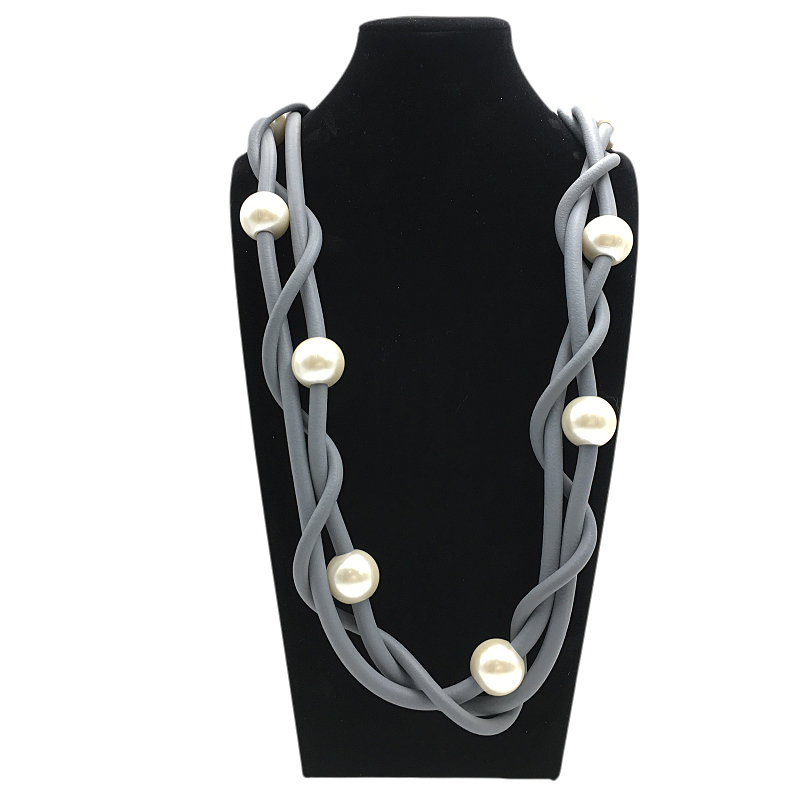 YD YDBZ New Pearl Necklace Women Pendant Jewellery Grey Rubber Rope Sweater Necklaces Long Punk Choker Girl Gift Handmade Chains