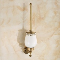 Luxury Bathroom Accessories Quality Antique Brass Finish Toilet Brush Set Creative Carving Toilet Bowl Toilet Cleaning