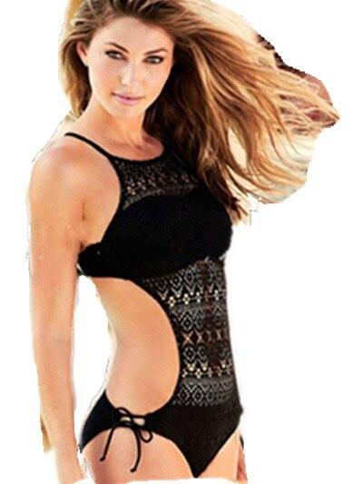 2016 Monokini Swimsuit Lace Crochet High NeckOne -Piece Swimwear Women Bathing Suits Black Bikini Hollow Out one piece swimsuits trikinis high cut thong swimsuit sexy strappy monokini swim suits high quality denim women s sports swimwear