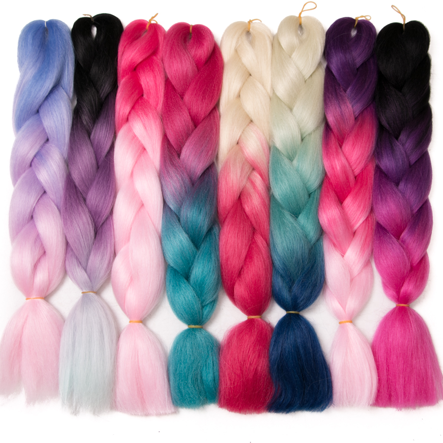 VERVES Braiding Hair 1 piece 24inch Jumbo Braids 100g piece Synthetic ombre high temperature Fiber Hair Extensions crochet braid in Jumbo Braids from Hair Extensions Wigs