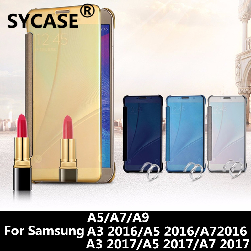 SYCASE For Samsung A9 A7 A5 A3 2016 2017 Hybrid Leather+Hard Plastic Flip Plating Smart View Clear Mirror Screen back Cover case