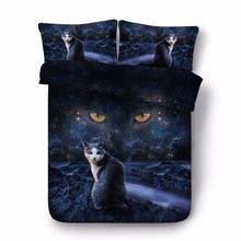 adult home textile 500TC space cat bedroom decor japanese 3D animal conforter sets egyptian cotton bedding queen size bed covers(China)