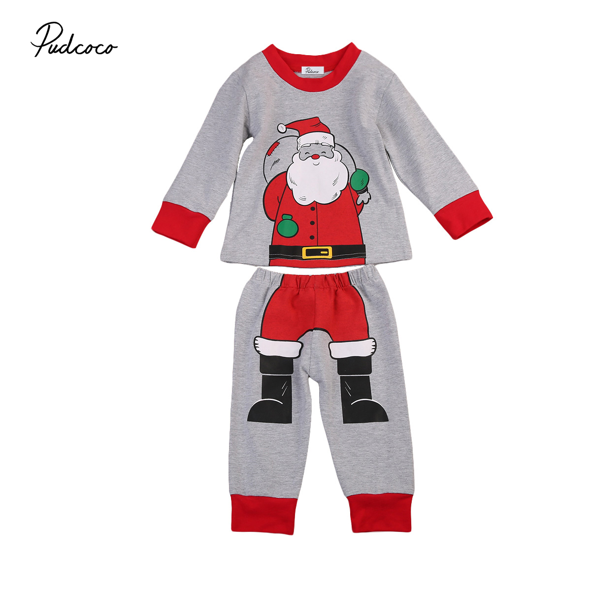 2Pcs Cotton Toddler Kids Baby Boys Clothes Long sleeve Xmas Santa Claus Pjs Pyjamas Sleepwear Age 0-6Year