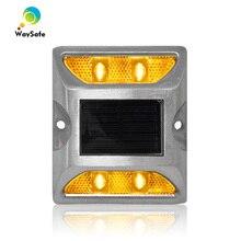 Продвижение двойной стороны желтый мигающий светодиодный дорожный отражатель на солнечной батарее 3 м Отражатель из литого алюминия Солнечный маркер