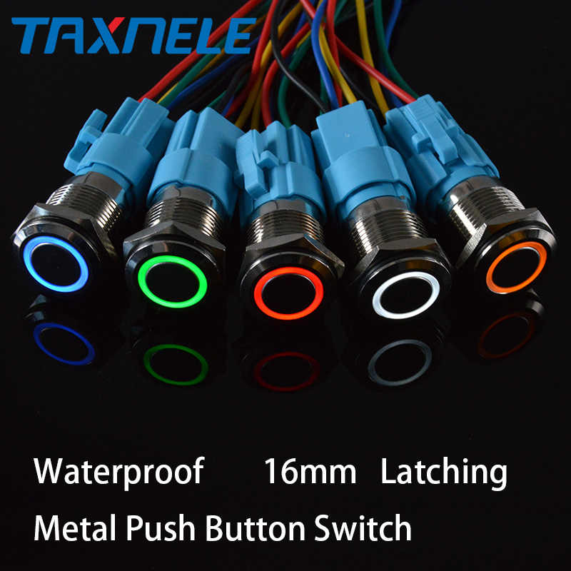 16mm Waterproof Metal Push Button Switch Ring and  LED light 9-24V 12V 110V 220V Momentary Latching 1NO 1NC Wide Voltage