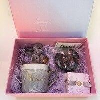 1set lot Custom name ceramic cup Anniversary souvenir Birthday gifts Wedding bridal shower party Bridesmaid gift set