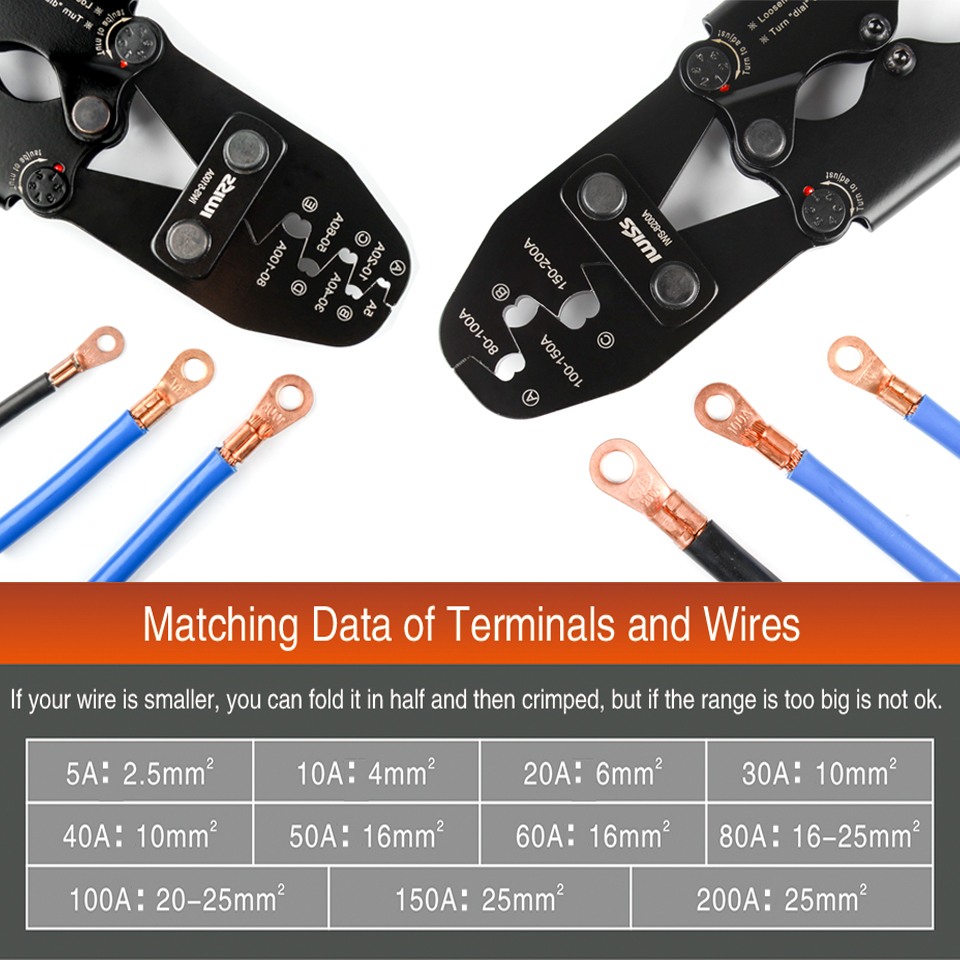 IWISS Crimping Plier Tools U Type Terminal Crimping Plier for Crimp 5A to 100A and 80A