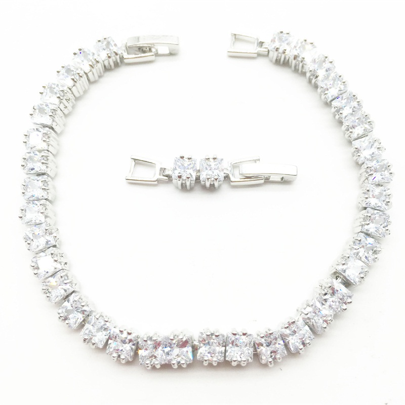 white Clear Square Zircon Stone Bracelets 14KT White Gold ...