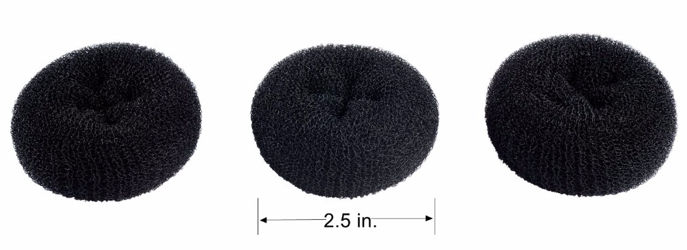 "CLOTHOBEAUTY 3 Pcs Extra Small Size Kids/Children Hair Bun Donut Maker, Chignon Hair Doughnut Shape,short/thin hair 2.5"" Black"