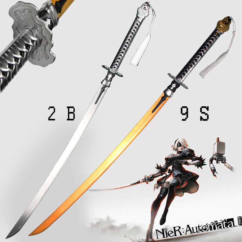 For Game NieR Automata 2B Sword 9S s Real Steel Blade Zinc Alloy Cosplay Prop Brand