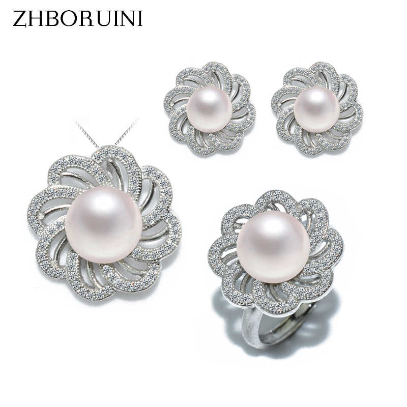 ZHBORUINI Fashion Pearl Jewelry Set Natural Freshwater Pearl Flower Necklace Earrings Ring 925 Sterling Silver Jewelry For Women
