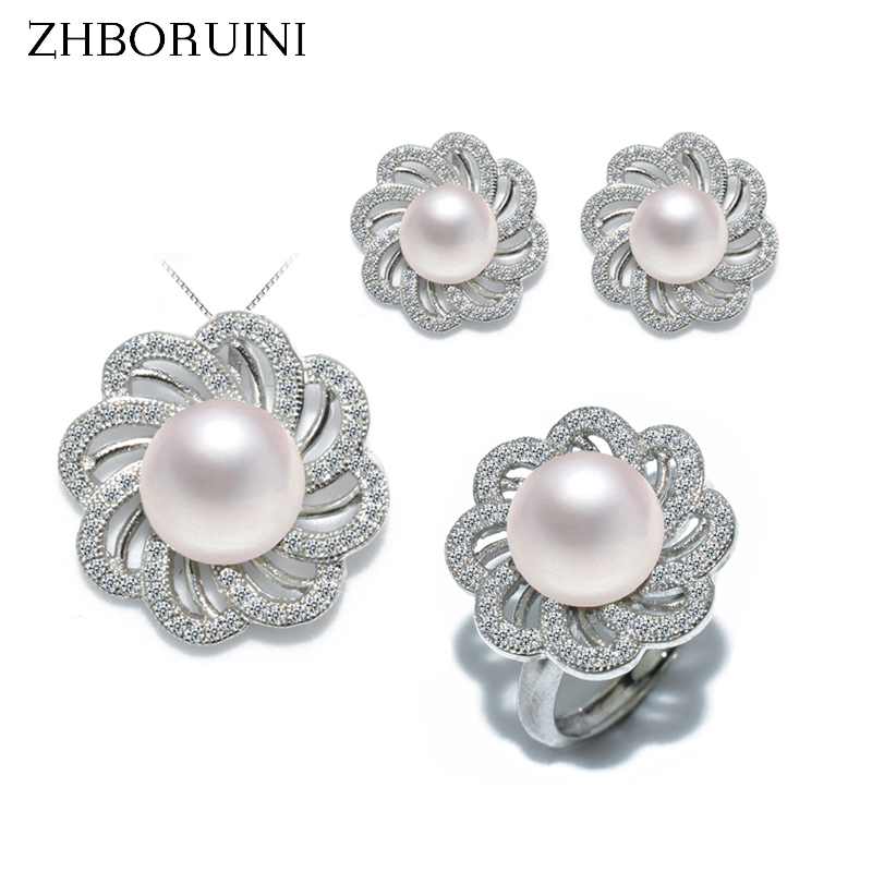 ZHBORUINI Fashion Pearl Jewelry Set Natural Freshwater Pearl Flower Necklace Earrings Ring 925 Sterling Silver Jewelry For Women a suit of graceful faux pearl flower shape necklace and earrings jewelry for women